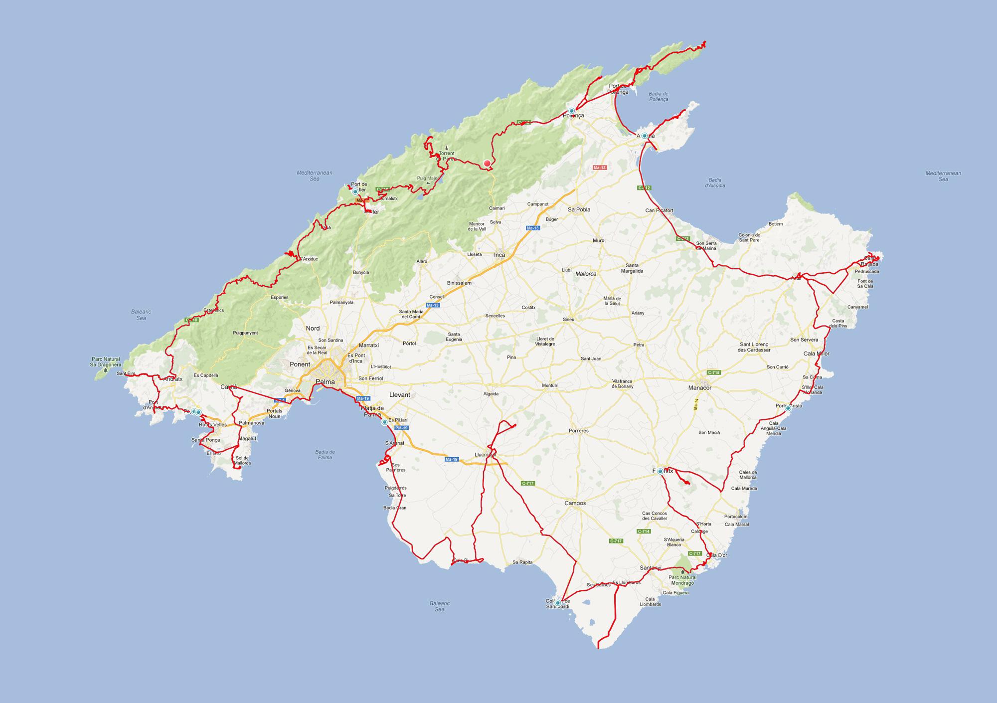 Hier sieht man die Strecke, die wir auf Mallorca gefahren sind.